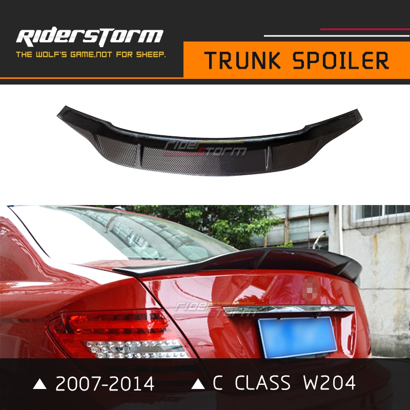 R Стиль W204 углерода спойлер сзади C класса Багажник крыло Bootlid губ для Mercedes 2007-2014 C200 C250 автомобиля стайлинг 4 Двери Седан только