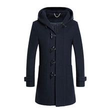 2016 зима мужская мода досуга мужская thicking капюшоном пальто шерстяное пальто мужчины рог кнопку пальто куртки ветровка