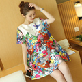 2016 Maternity clothing summer top fashion loose cartoon print one-piece dress maternity short-sleeve a-line skirt