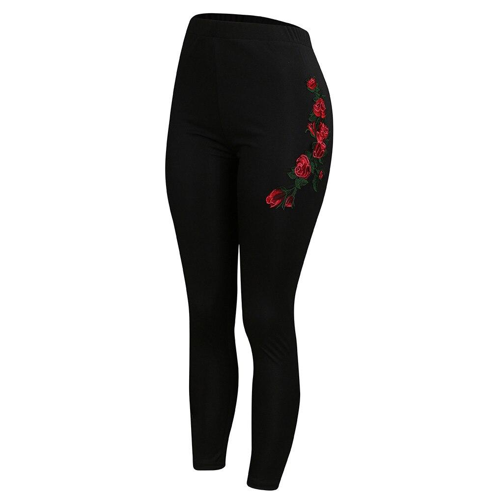 Pants - Womens Plus Size Solid Appliques High Waist Leggings