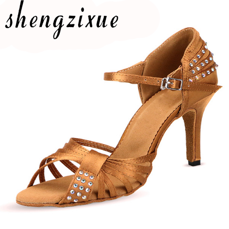 shengzixue Latin dance shoes Bronze satin diamond New arrival soft bottom high-heeled 8.5cm Salsa party ballroom dancing shoes new arrival brand modern dance shoes women dancing shoes heeled latin ballroom