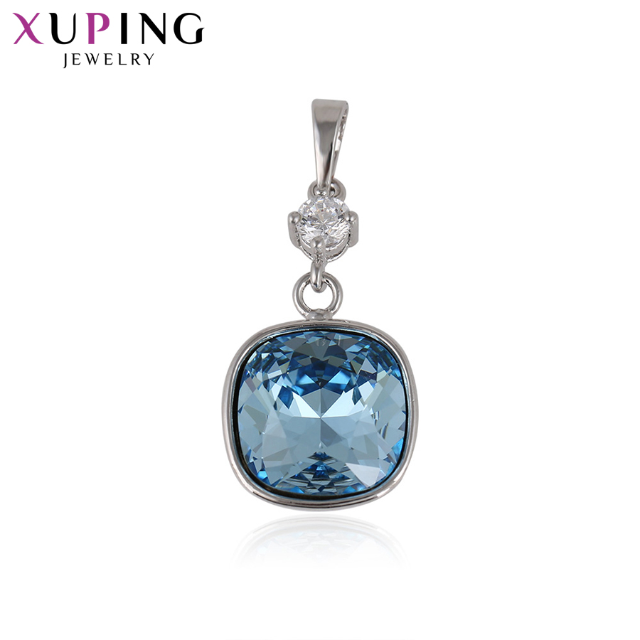 11.11 Xuping Fashion Elegant Crystals from Swarovski Rectangle Pendant Necklaces for Women Christmas Day Gift S29-32885