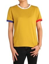 Summer Women Tshirt Polyester Solid Color Splicing T-Shirt Women Harajuku Fashion O-Neck Casual Slim Women T Shirts