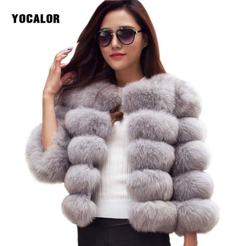 YOCALOR Faux Fur Coat Mink Fur Coats Winter Jacket Women Elegant Thick Warm Outerwear Fake Fur