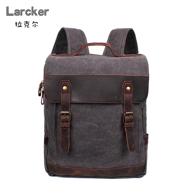 vintage new design men canvas backpacks anti-theft backpack cowhide belts cover travel backpack fashion men bag high quality