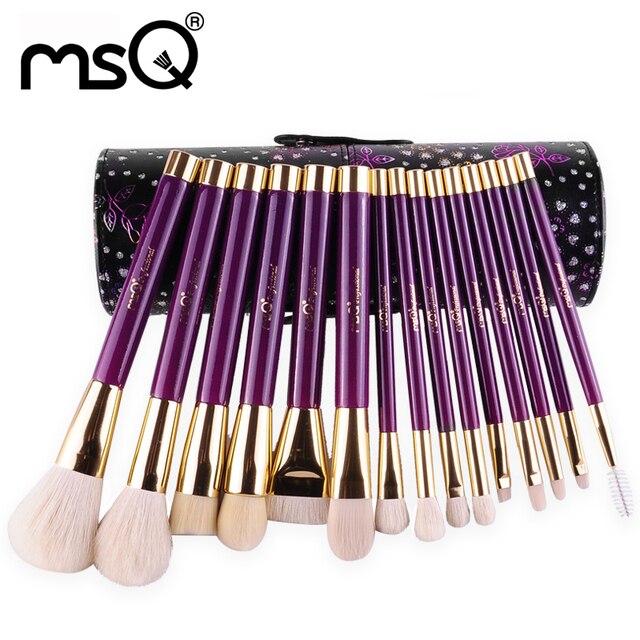 Msq 15 unids provence moda pinceles de maquillaje conjunto de alta calidad de pelo de cabra natural mango de madera cilindro de serie con el diamante