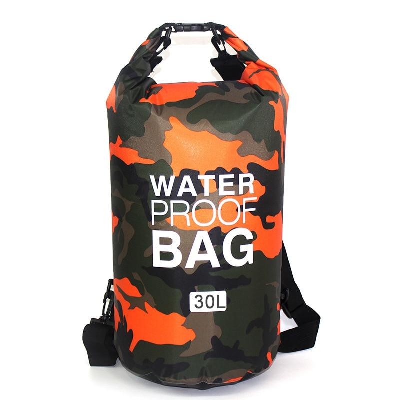 Outdoor Bag Camouflage Portable Rafting Diving Dry Bag Sack PVC Waterproof Folding Swimming Storage Bag for River Trekking 30L