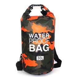 Sac extérieur Camouflage Portable Rafting plongée sac sec sac PVC étanche pliant natation sac de rangement pour rivière Trekking