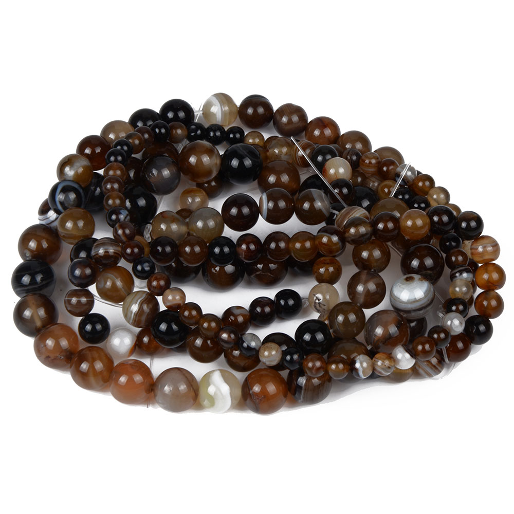 Brown Orange Banded Stone Beads Women Jewelry Fashion Making Beads 4 6 8 10 12mm
