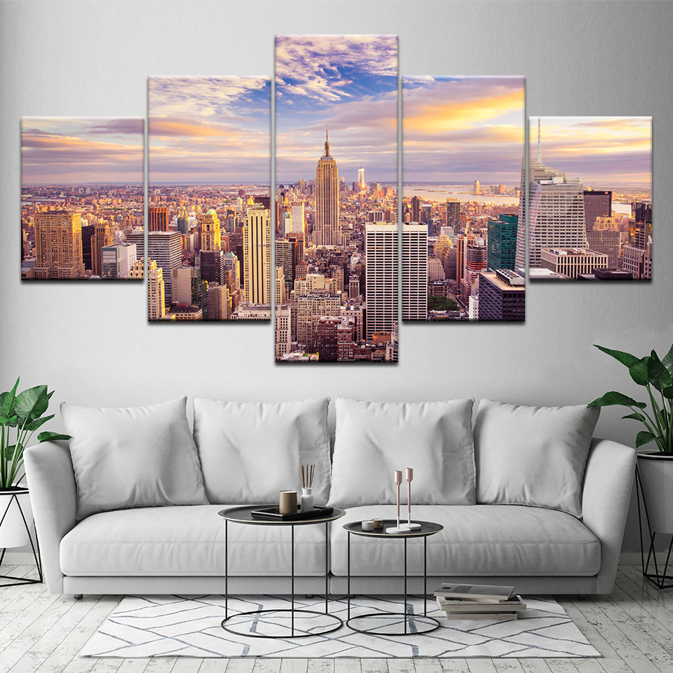 (Framed)5 Piece New York City Building Wall Art Picture