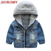 JIOROMY Baby Boys Coat 2017 New Spring Autumn Wash Soft Denim Coat Hooded Zipper Coat Jeans Jacket for Kids Children Clothing