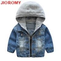 JIOROMY Baby Boys Coat 2017 New Spring Autumn Wash Soft Denim Coat Hooded Zipper Coat Jeans