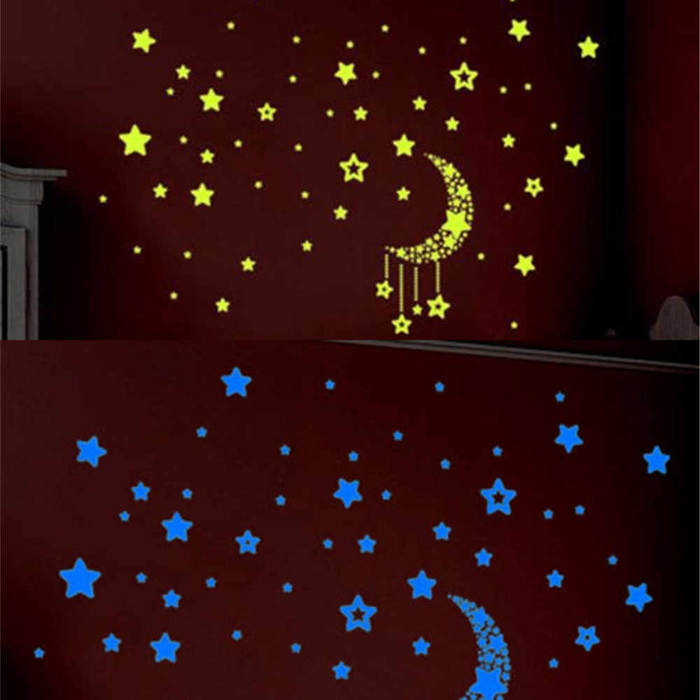 Набор детская спальня флуоресцентный светится в темноте звезды потолок звезды наклейки с Луной наклейки на стену ночной детский домашний Декор подарок L * 5