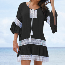 Beach Cover up Swimwear Women Cover ups Lace Beach Dress Tunic Tassel Crochet Bathing Suit Cover ups Pareo de plage Beachwear