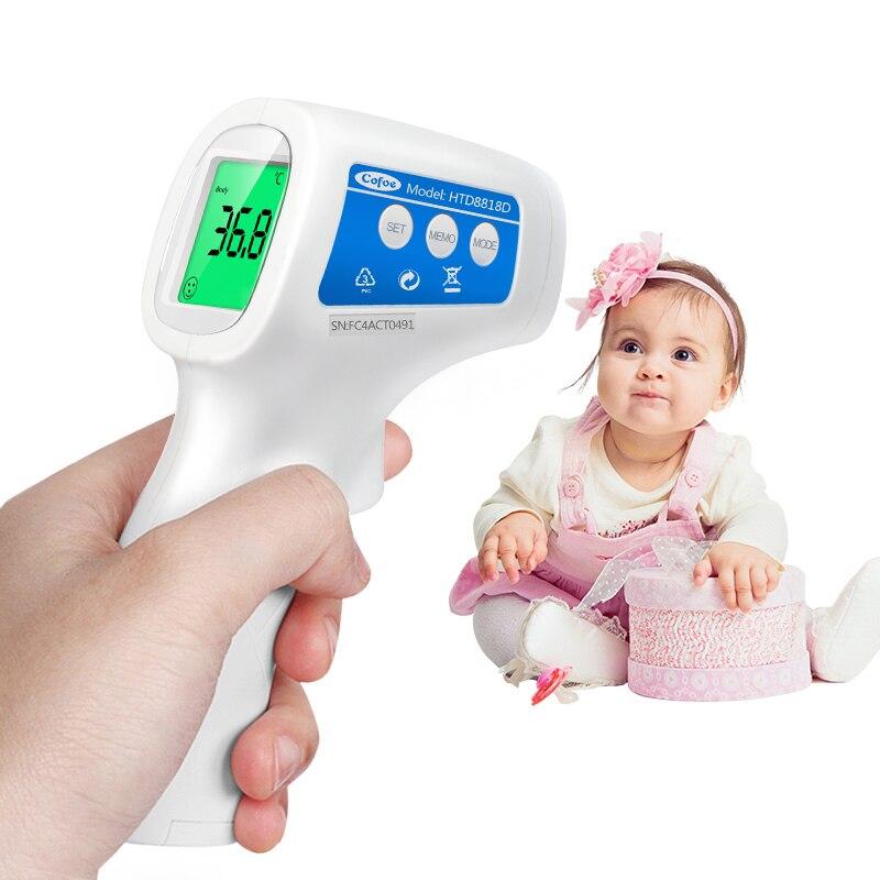 Termómetro Cofoe temperatura del cuerpo Medición de la fiebre frente sin contacto infrarrojo LCD IR Digital herramienta dispositivo para bebé niño