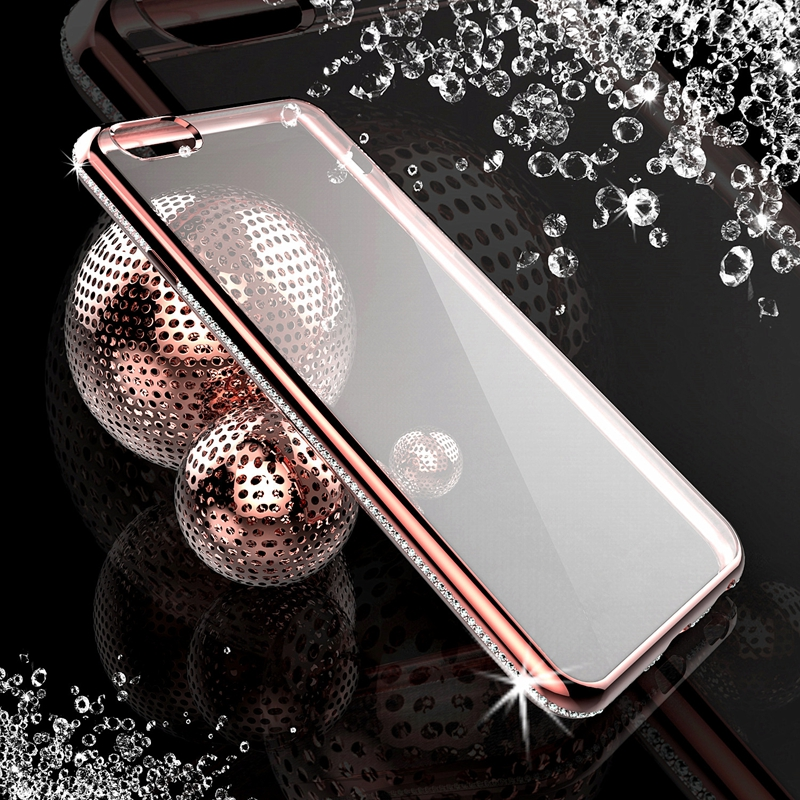 Luxury Ultra Slim TPU + Crystal Diamond Case For iPhone iphon 6 6S 4.7 Soft Transparent Clear Back Cover + PC Plating Frame Capa
