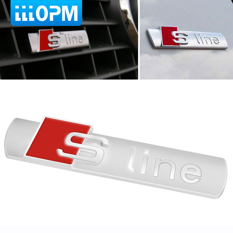 3D Metal Car S line Sticker Cover for Audi Sline Logo A3 A4 A5 A6 Q3 Q5 Q7 B7 B8 C5 S6 Auto Car Decal Accessories Styling