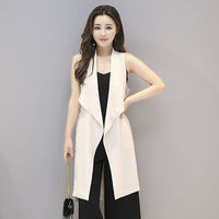 Korean Chiffon Women Vest White Black Thin Long Vest Jacket Women Fashion Sleeveless Ladies Vest Waistcoat Chaleco Mujer C5595