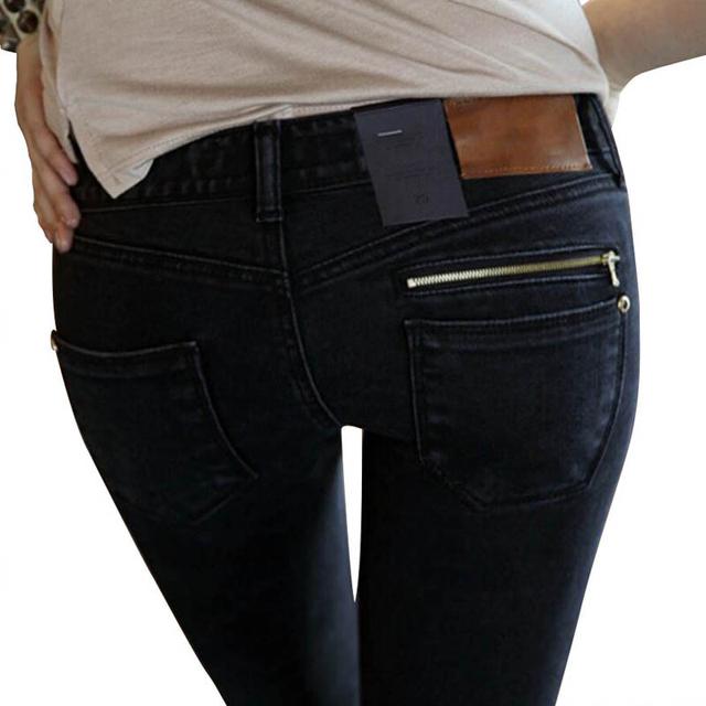 Calças de brim da mulher De 2016 New Female Calças Lápis Magros Pés magros Jeans Preto Calças Jeans Mulheres Calças Compridas