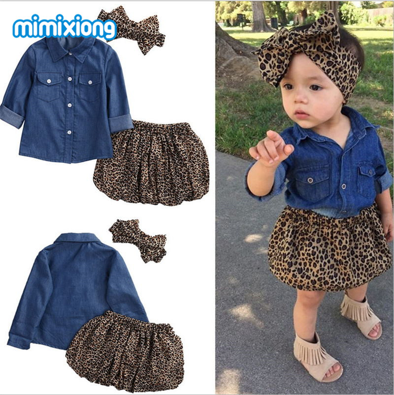 Baby Girls Clothing Set Blue Jean Jacket + Leopard Skirt + Headband 3pcs Outfits For Toddler Infant Clothes High Quality Autumn 3pcs set newborn infant baby boy girl clothes 2017 summer short sleeve leopard floral romper bodysuit headband shoes outfits