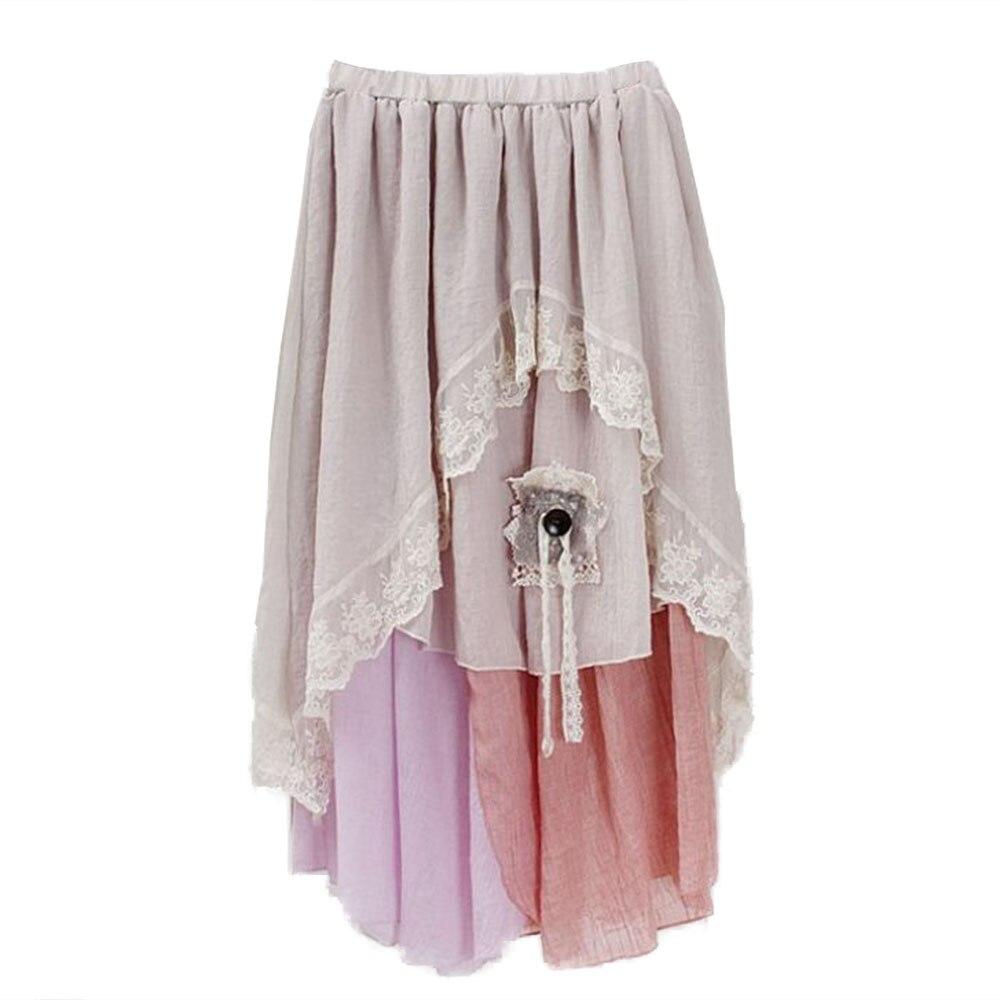 Contraste Asimetría Verano Gótico Alta Falda De Color Y03689 Faldas Encaje pink Mujeres Gótica Lolita Cintura Irregular Blue 51ddwHUqnx