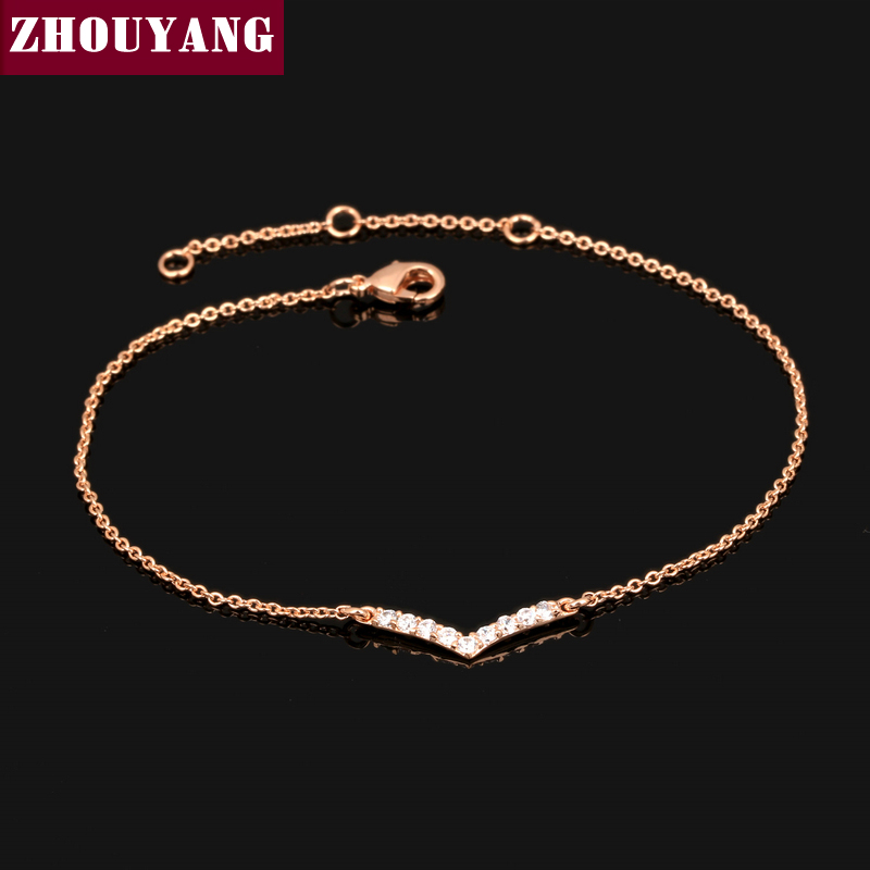 V Lover Hot Sell Elegant Rose Gold Plated font b Bracelet b font Jewelry For font