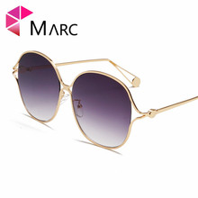 MARC 100%UV400 WOMEN MEN 2018NEW Oval Brand Design Fashion Trendy Metal Sunglasses Gradient Sol Gafas Oculos Eyewear Clear Resin trendy women s clutch bag with metal and gradient color design