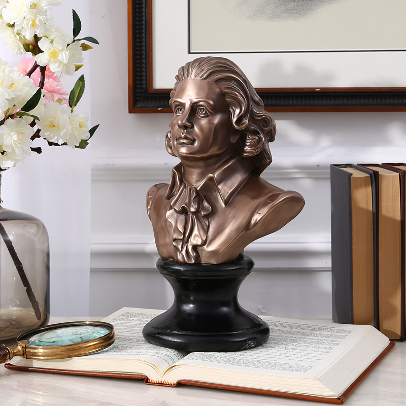 Retro Music Mozart Bust Plaster Amadeus Statue Copper+Resin Colophony Crafts Sketch Teaching Collectible Decorations L1764
