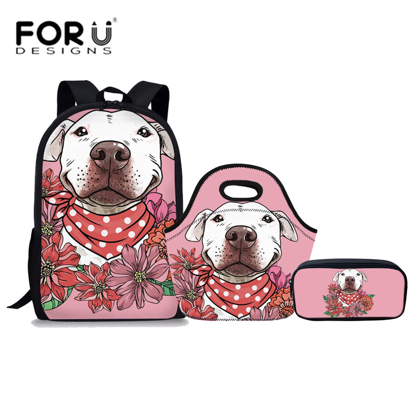 FORUDESIGNS 3Pcs/set School Bags for Teenager Girls Bull Terrier Flower Printed Schoolbag Preppy Book Bag Children Cute Rucksack