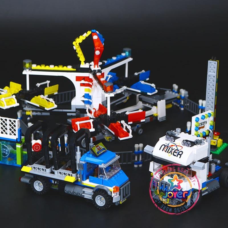 Lepin 15014 Fairground Mixer Truck building bricks blocks Toy Boy Game Model Car Gift Compatible with Bela 10244 fairground adventure