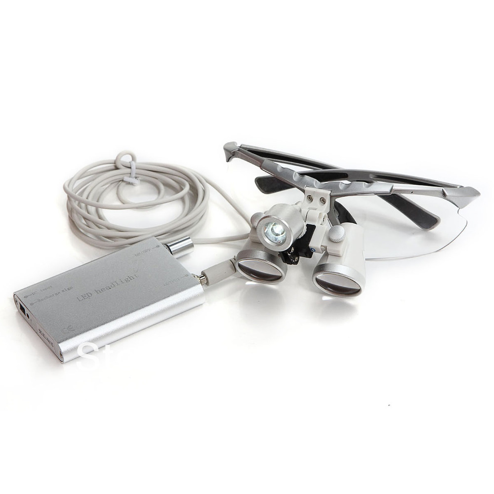Brand New Silver Dentist Dental Surgical Medical Binocular Loupes 3.5X 320mm Optical Glass Loupe + LED Head Light Lamp spark 2 5x magnification dentist surgical medical binocular dental loupes with comfortable headband and mounted led head light