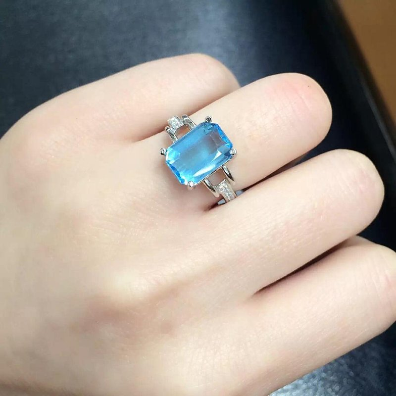 купить Anillos Qi Xuan_Blue Stone Fashion Jewelry Rings_Finger Rings_S925 Solid Silver Fashion Blue Ring_Manufacturer Directly Sales