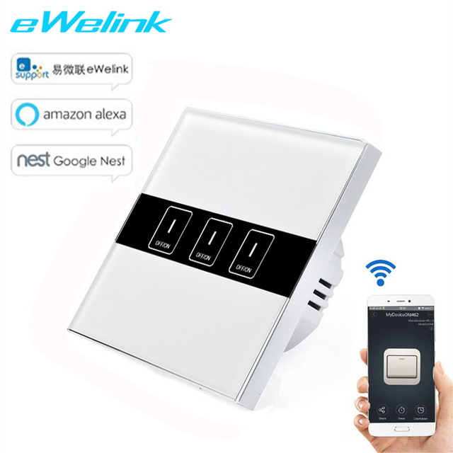 eWelink EU Standard Wireless Control Light Touch Wall Switches ,3 Gang Wifi Control Switch via Android and IOS for Smart Homne eu us smart home remote touch switch 1 gang 1 way itead sonoff crystal glass panel touch switch touch switch wifi led backlight