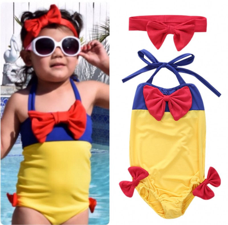 Baby Girls One Piece Swimwear Kids Snow White Swimmable Bikini Set Monokini Kids Swimwear Bathing suit Costume 2-7T
