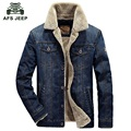 2016 New Winter Mens Fashion AFS JEEP Men Denim Jacket Eur Style Casual Fur Thick Jeans Blazer Plus Velvet Outwear Coat Size 4XL