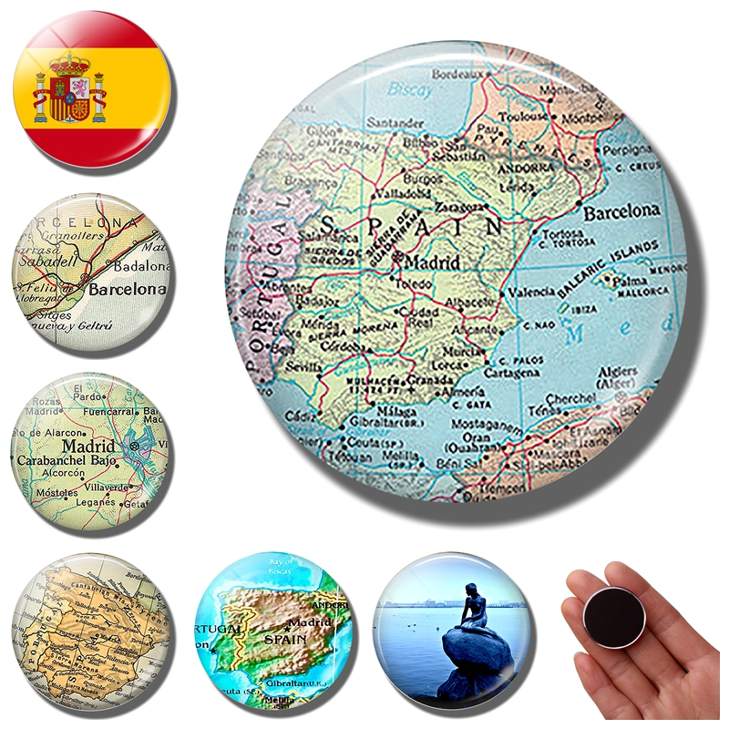 Travel Map Of Spain.Us 0 42 58 Off Spain Map Fridge Magnet Barcelona Madrid Map Refrigerator Magnet Vintage Spanish Valencia Barcelona World Travel Travel Souvenir In