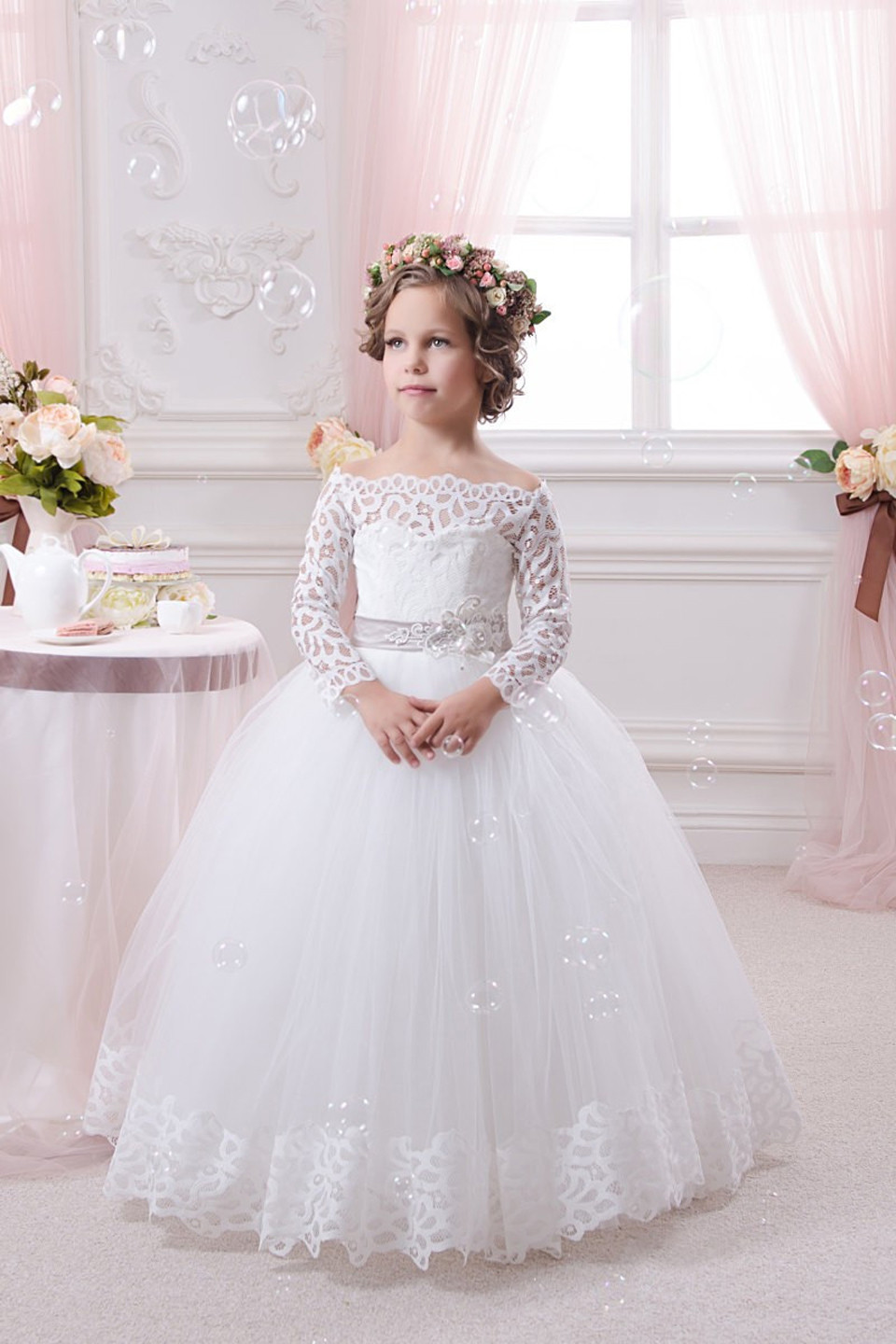 Stunning Long Sleeve Lace White Flower Girls Dresses For Weddings Party Ball Gown 2017 Girls Applique Mother Daughter Dresses 6 pcs lot endstop mechanical limit switches 3d printer switch for ramps 1 4 free shipping dropshipping