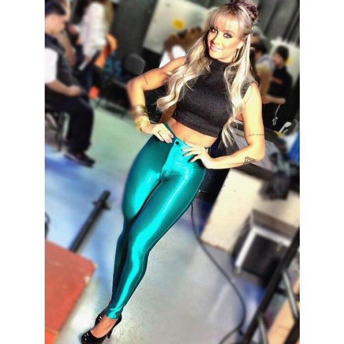 2016 Новых женщин Способа узкие Диско Штаны Женщины Высокой Талией sexy Lady Брюки брюки Плюс Размер # GRP004