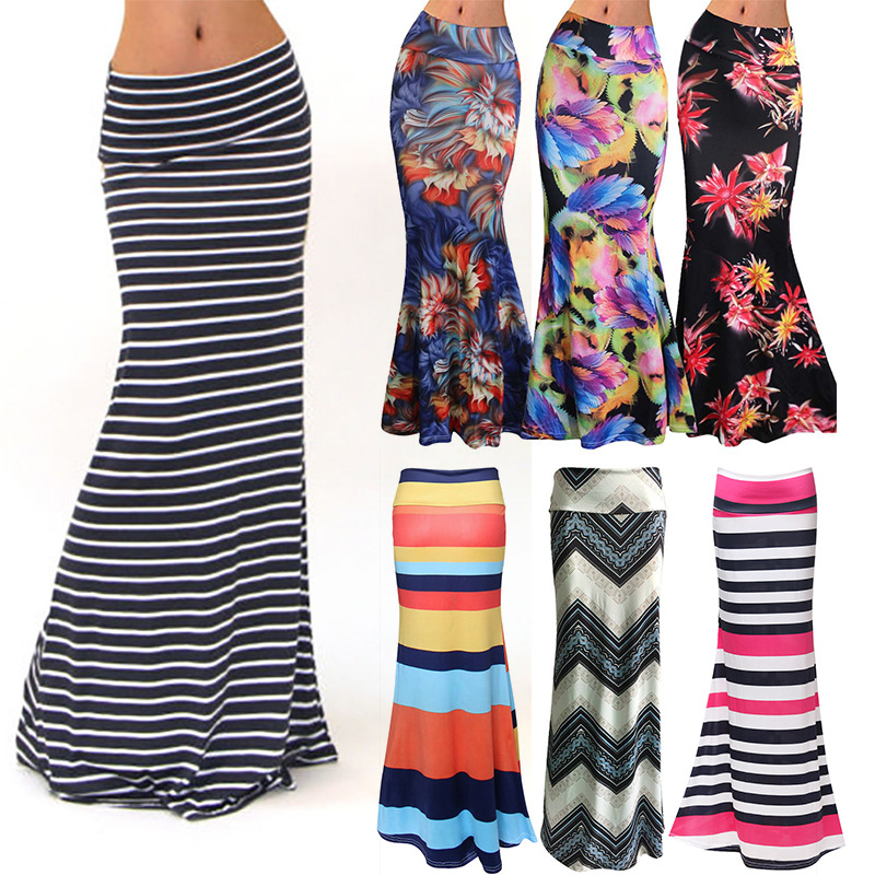 Women Plus Size Floor-length Maxi Skirt  Stretch Floral Pencil Tube Bodycon Beach Skirts Striped Casual Long Faldas Mujer Moda