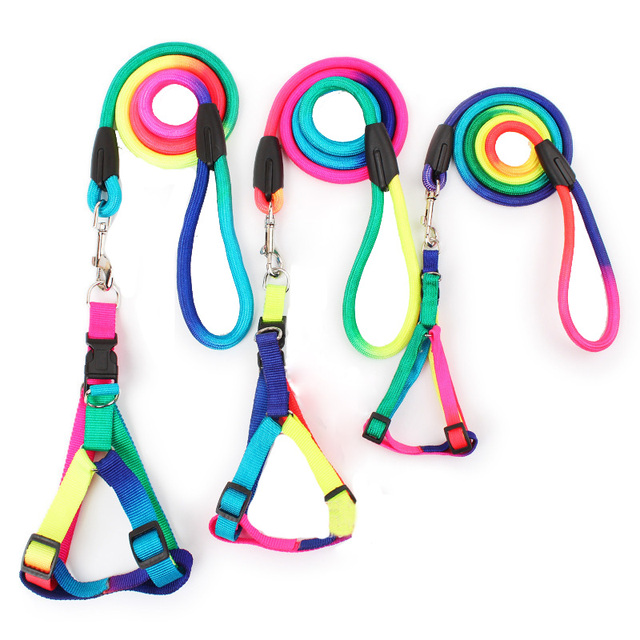 3 Size S M L Rainbow Dog Harness with Leash Set 120cm Long Durable Nylon Dog Leash Pet Walking Lead Rope Accessories Dog Supply