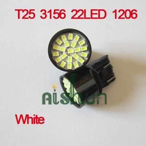 new Free Shipping 10pcs/lot  white 12V T25 3156 22 LED 1206 SMD direction indicator lamp/backup light