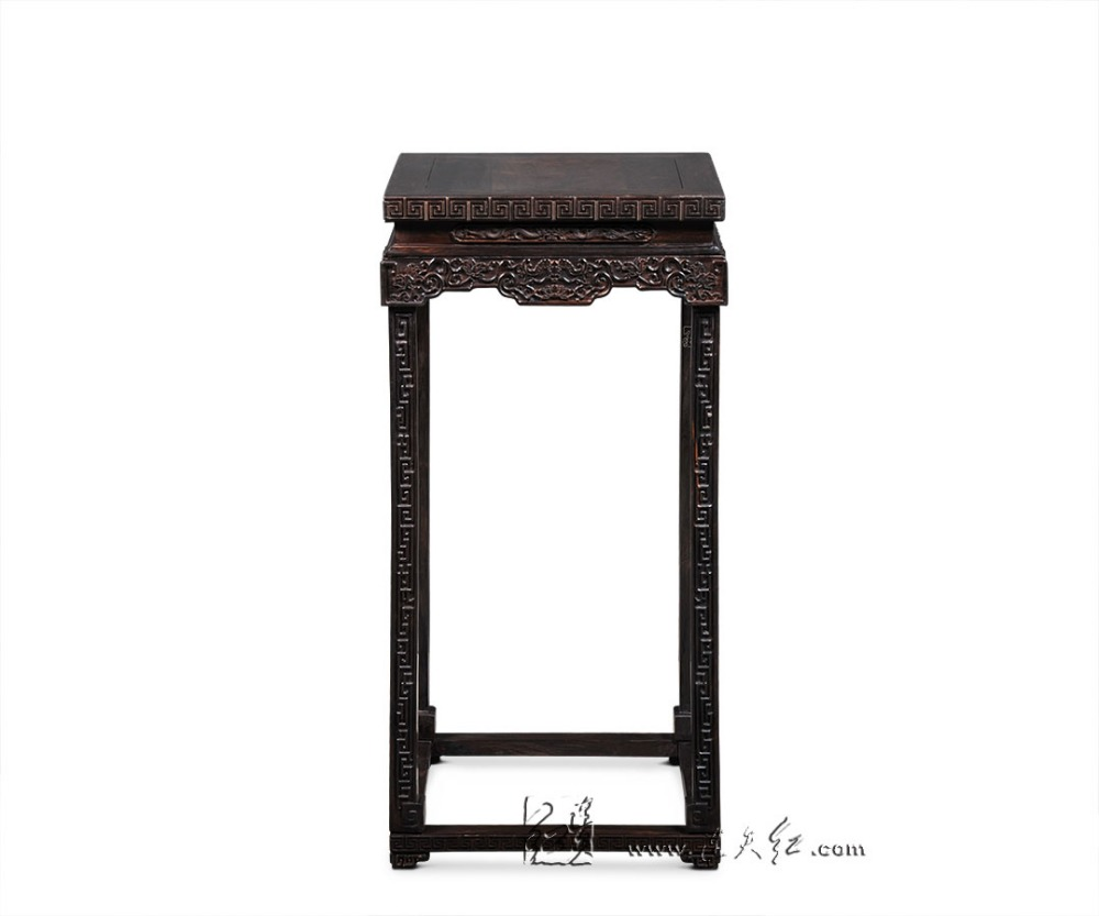 Chinese Classical Furniture Burma Rosewood Flower Stand with Lotus Patterns Home Decoration Burmase Luxurious Solid Wooden Table stools with chi design living room low console table burma rosewood chinese classical antique furniture solid wood square bench