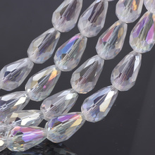 OlingArt 8*11mm 50pcs Waterdrop Faceted Austrian crystal beads Crystal AB color Teardrop glass bead for jewelry making bracelet