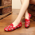 SZiVan Women Casual Red Canvas Flat Shoes Pointed Toe Low Top Fashion Bees Embroidered Ladies Loafers Zapatos Mujer Gum Bottom