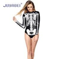 Juyabei mujeres de una pieza del cráneo imprimir traje de baño playa Bañadores Halloween Cosplay manga larga traje de baño