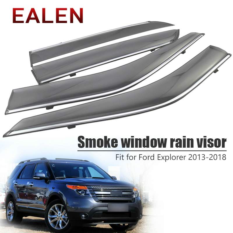 EALEN For Ford Explorer 2013 2014 2015 2016 2017 2018 Vent Sun Deflectors Guard Accessories 4Pcs/1Set Smoke Window Rain Visor-in Awnings & Shelters from Automobiles & Motorcycles    1
