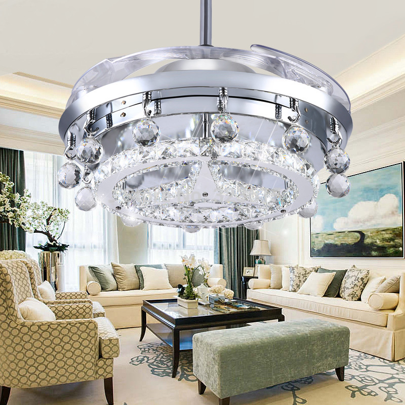 Luxury K9 Crystal Ceiling Fan Light Por Modern