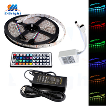 1 set 12V RGB 44 Keys Remote Control 5M 5050 300 SMD LED Lamp Strip Flexible Decorative Light with 5A Battery стоимость