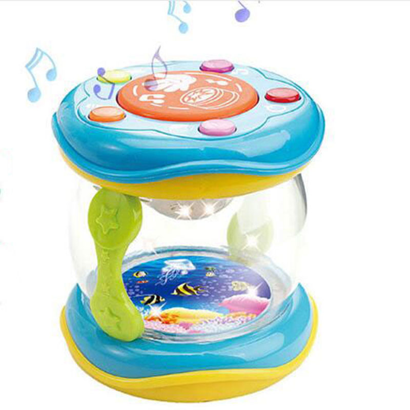 LED Music Early Childhood Educational Learning Developmental Baby Rattles Funny Children Infant Toys Mini Magic Hand Drum Beat