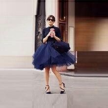 Темно-синие Пышные юбки-пачки для женщин, Новое поступление, трапециевидная фатиновая Юбка До Колена, бальное платье, шикарное миди-юбка